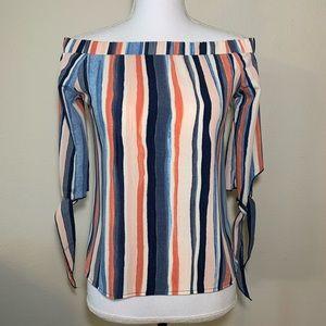 50% OFF Bar lll vertical striped shoulder blouse